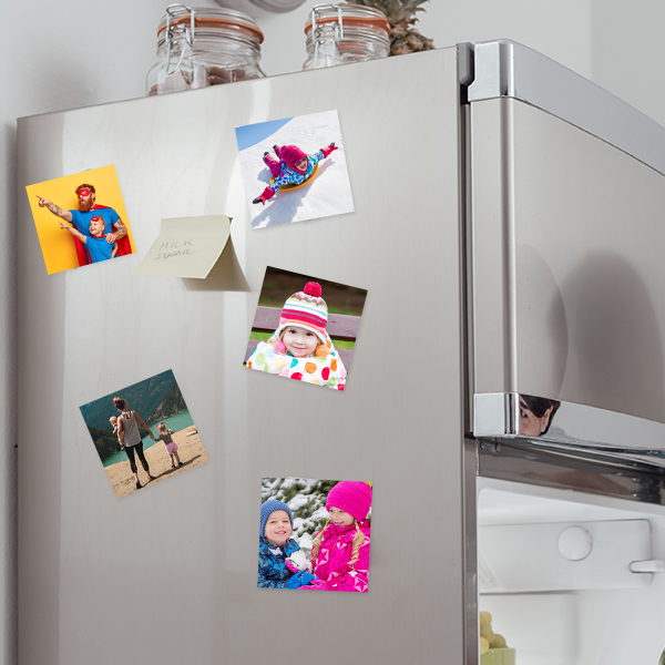Square photo Prints on Fridge