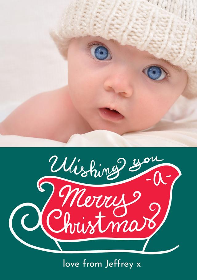 Create a Real Photo Photo Christmas Card Sleigh Card
