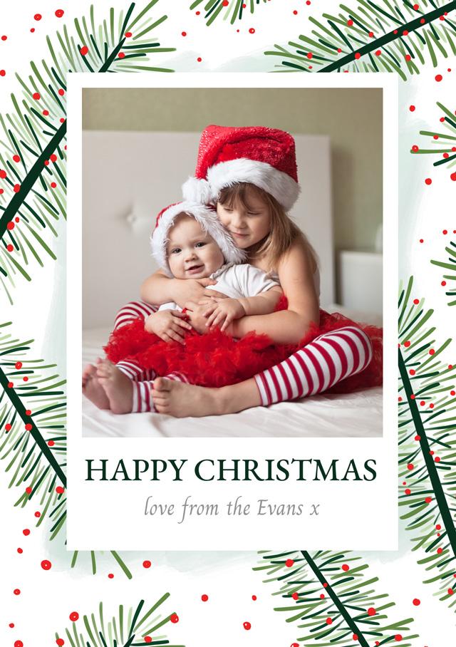 Create a Real Photo Photo Christmas Card Festive Yew Card