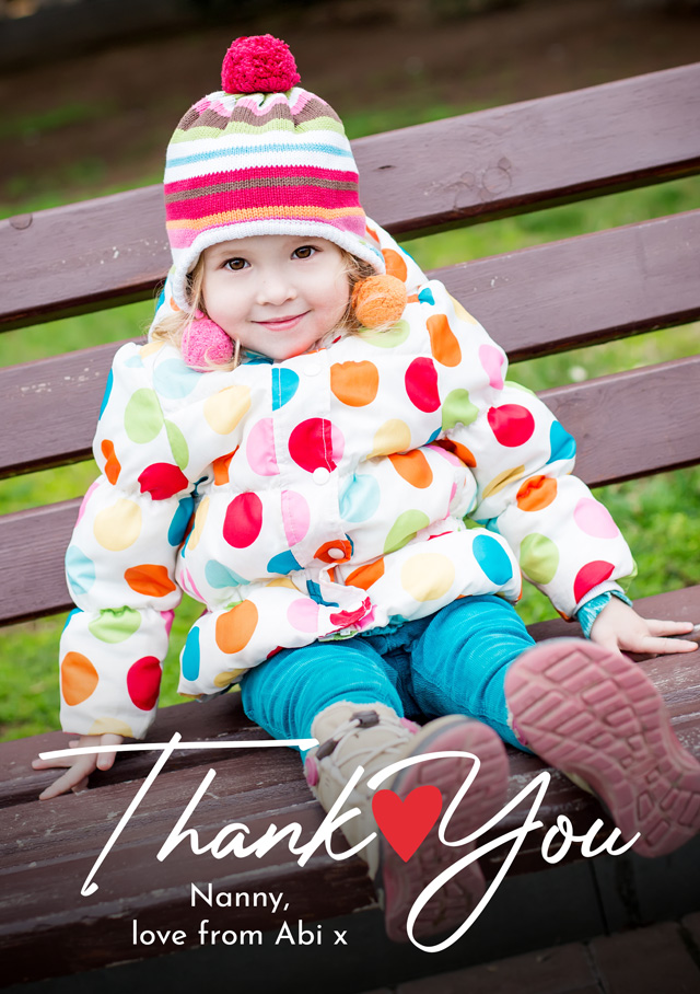 Create a personalised photo card Photo Thank You Card Heart