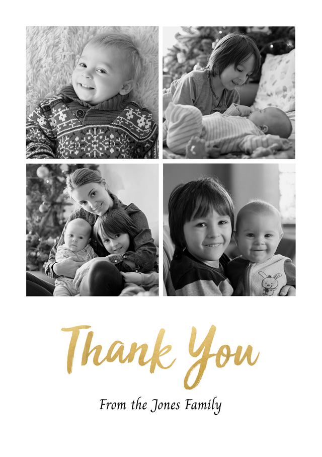 Create a Real Photo Photo Thank You Card 4 Square Photos Card