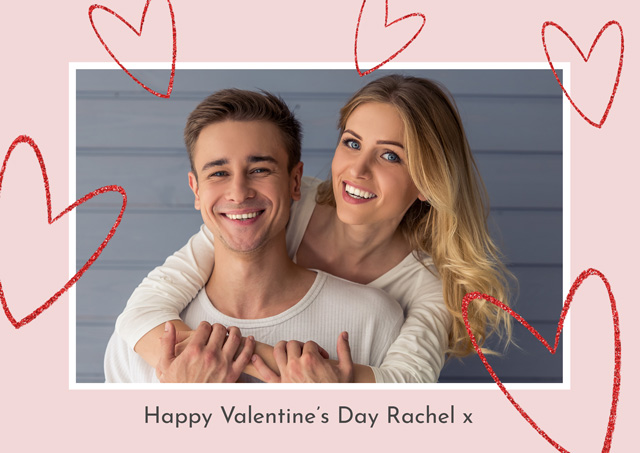 Create a Real Photo Photo Card Valentines Floating Hearts Card