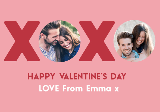 Create a Real Photo Photo Card Valentines Xoxo Circles Card