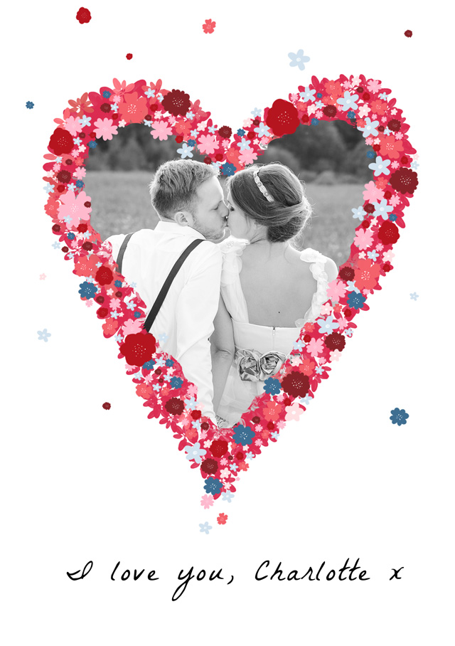 Create a personalised photo card Photo Card Love Flower Heart
