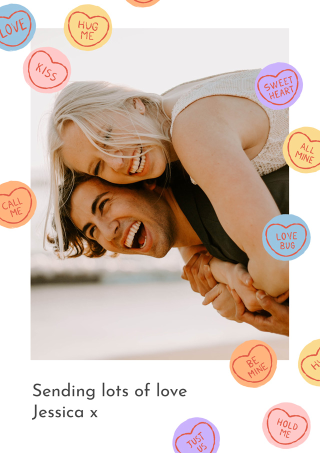 Create a personalised photo card Photo Card Love Hearts