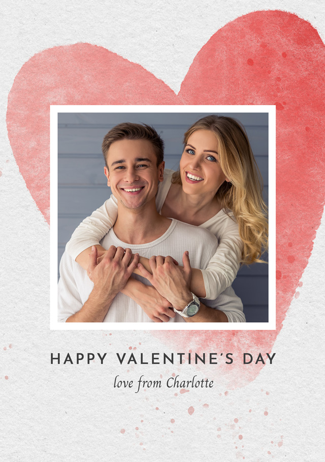 Create a Real Photo Photo Card Valentines Watercolour Heart Card