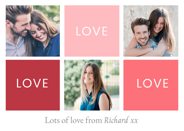 Create a Real Photo Photo Card Valentines Love Love Love Card