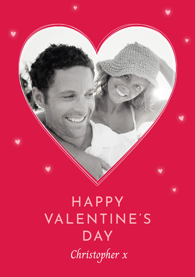 Create a Real Photo Photo Card Valentines Single Red Heart Card
