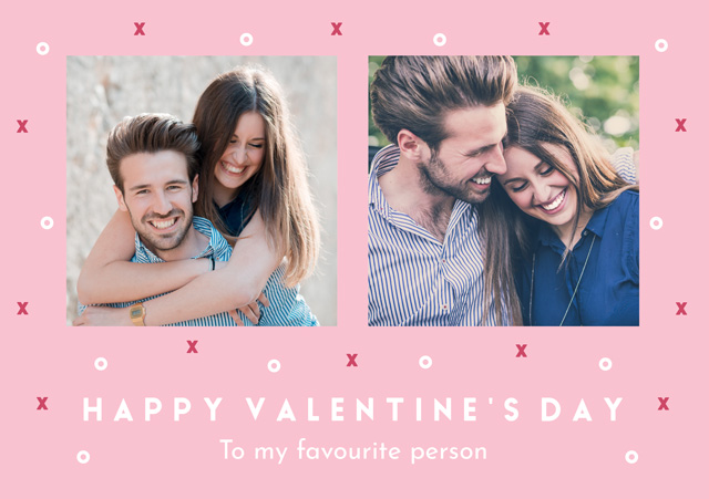 Create a Real Photo Photo Card Valentines Xo Pattern Card