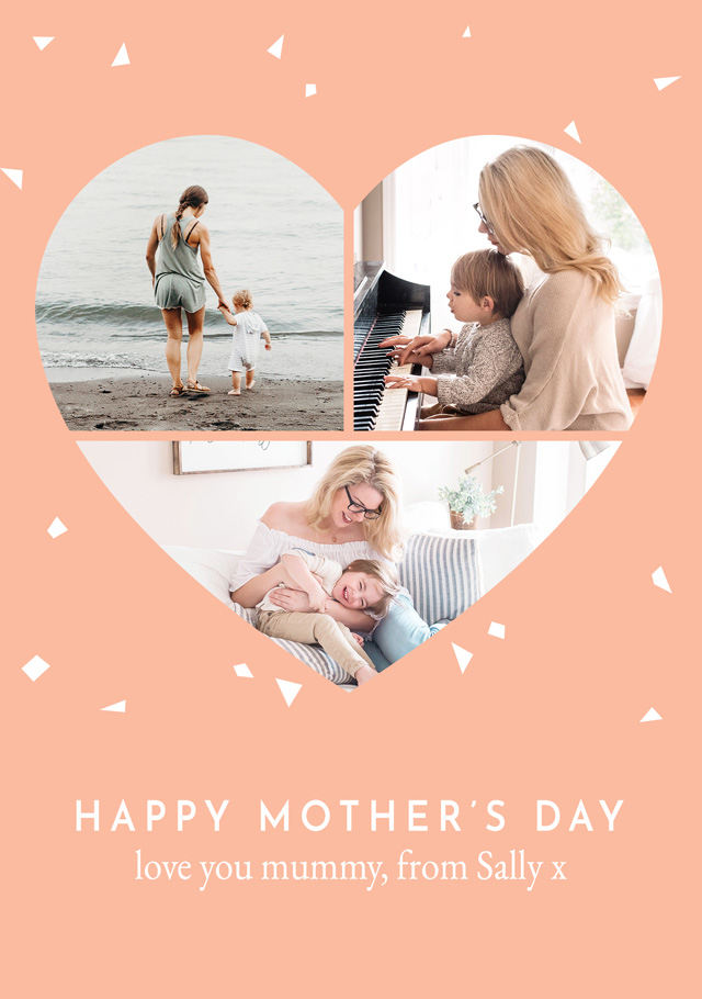 Create a Real Photo Photo Mother's Day Card Heart Collage Card
