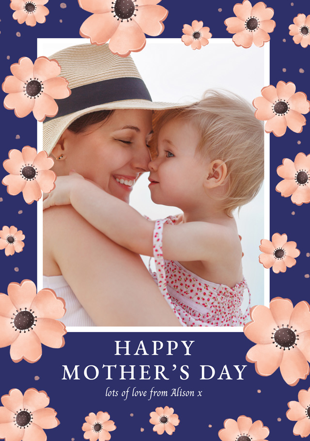 Create a Real Photo Photo Mother's Day Card Pink Flowers Card