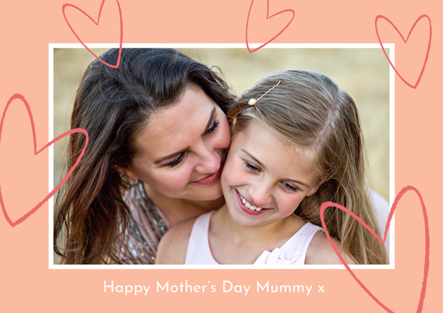 Create a Real Photo Photo Mother's Day Card Glitter Hearts Card