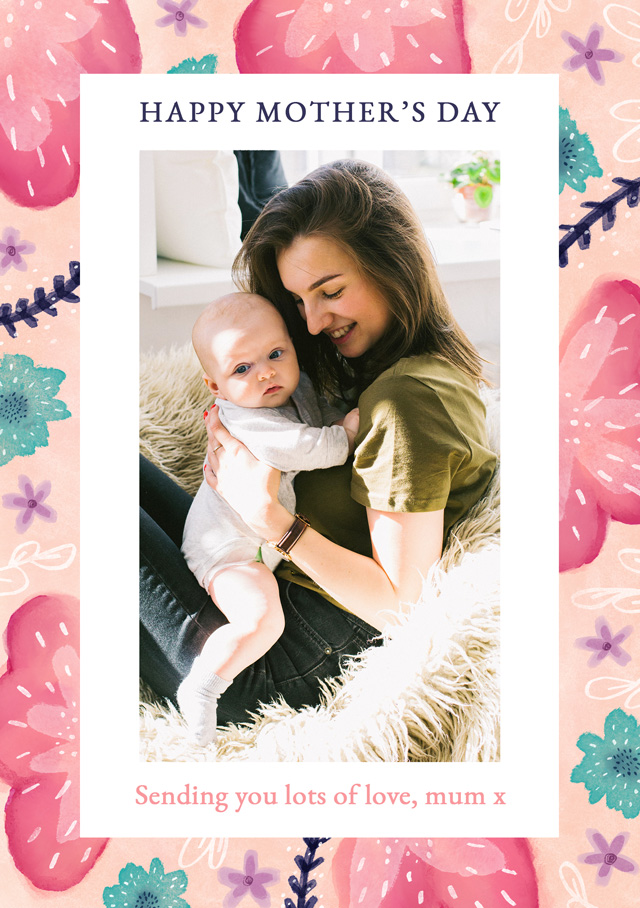 Create a Real Photo Photo Mother's Day Card Portrait Flowers Card