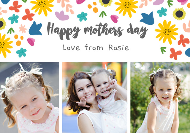 Create a Real Photo Photo Mother's Day Card Floral Pattern Card
