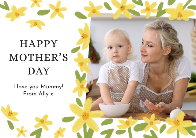 Create a Real Photo Photo Mother's Day Card Yellow Flowers Card