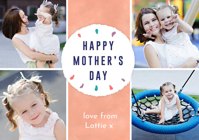 Create a personalised photo card Photo Mother's Day Card Collage Circle