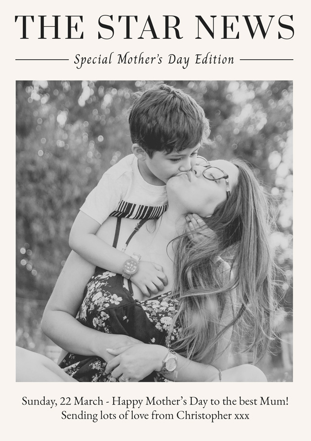 Create a Real Photo Photo Mother's Day Card News Card