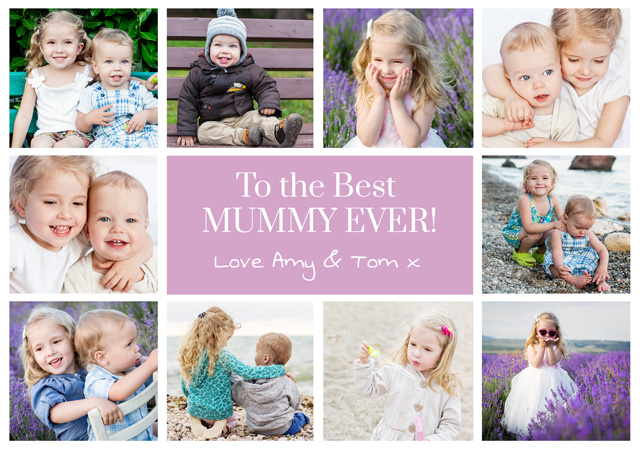 Create a Real Photo Photo Mother's Day Card 10 Photo Collage Card