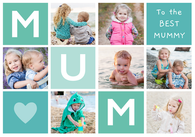 Create a Real Photo Photo Mother's Day Card Mum 7 Photo Collage Landscape Card
