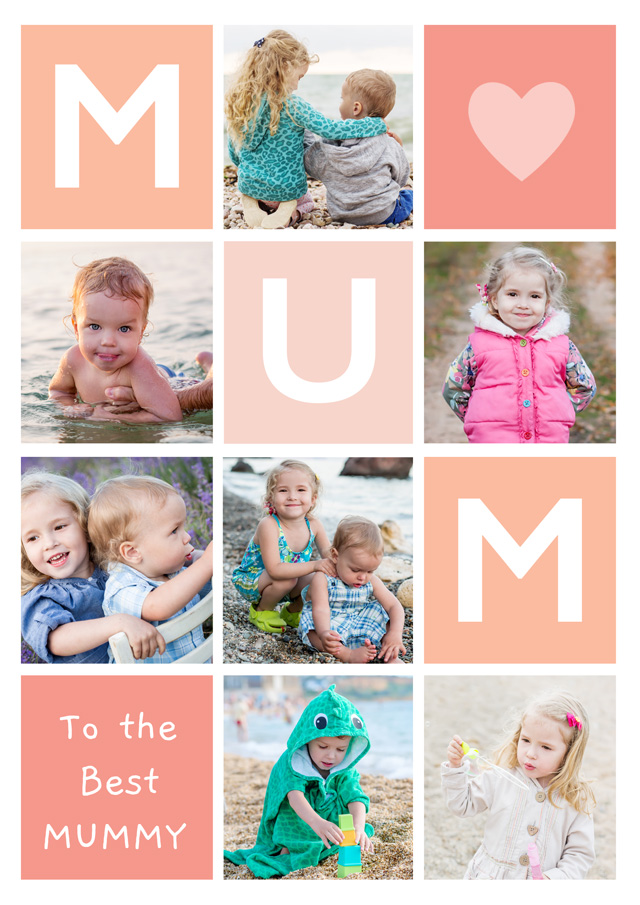 Photo Mother's Day Card Mum 7 Photo Collage Portrait