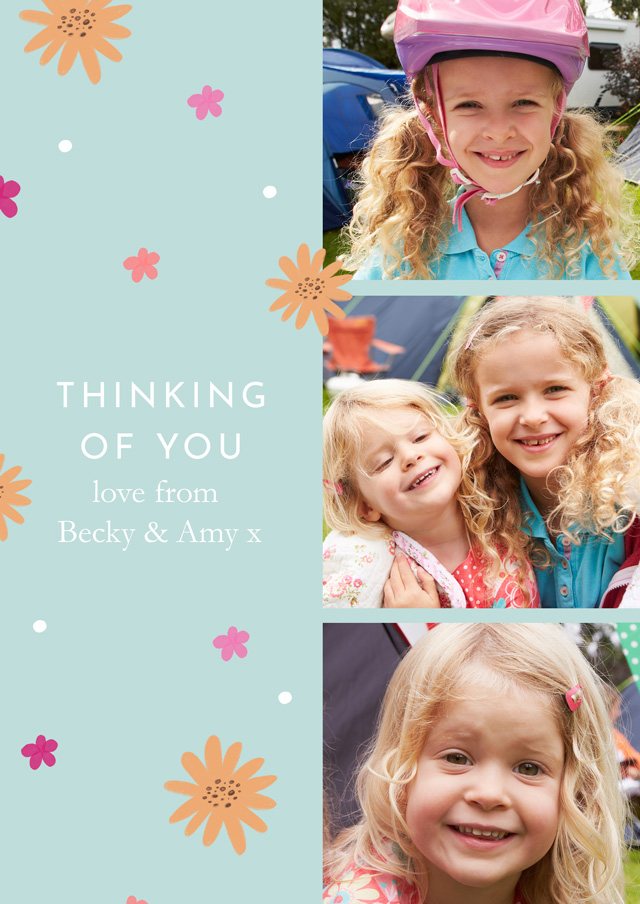Create a Real Photo Photo Thinking Of You Card Collage Flowers Portrait Card