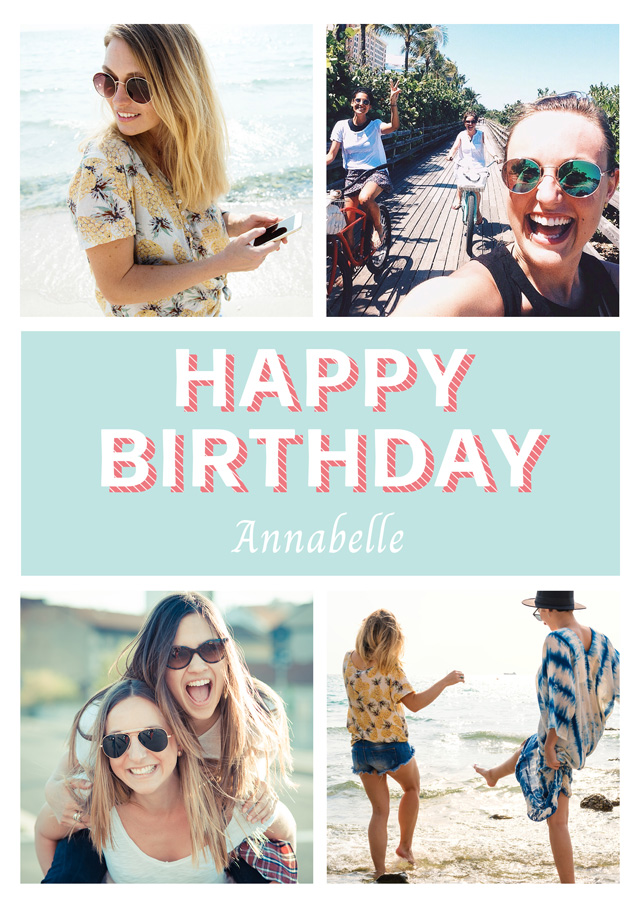 Create a Real Photo Photo Birthday Card Collage Seventies Style Card