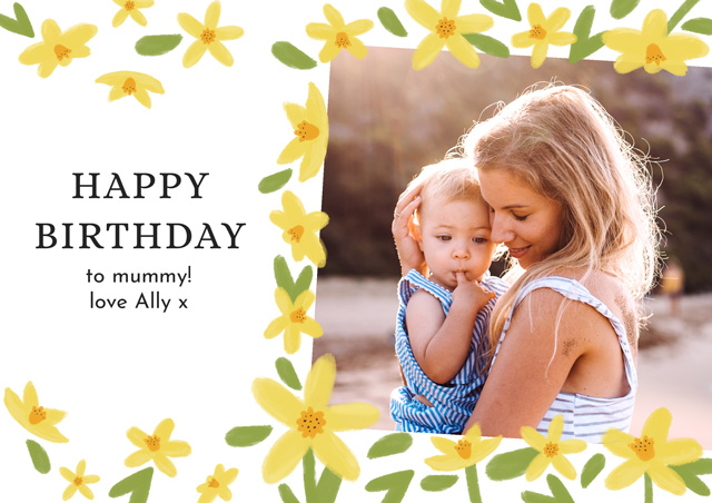 Create a Real Photo Photo Birthday Card Spring Flowers Card