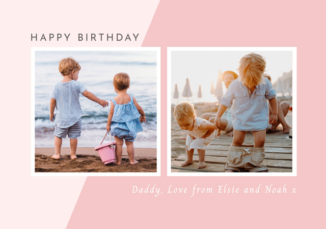 Create a Real Photo Photo Birthday Card Collage Two Tone Card