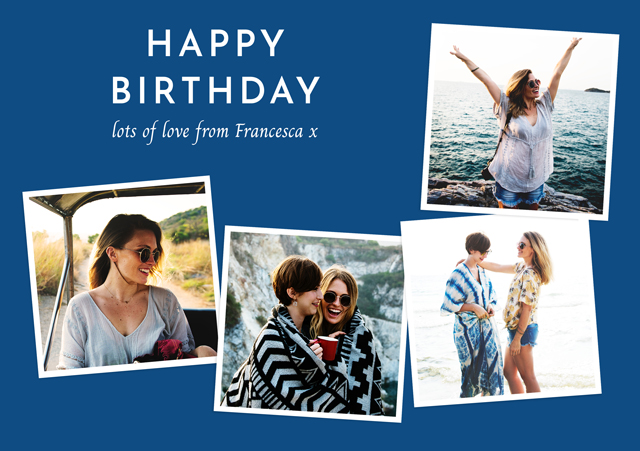 Create a Real Photo Photo Birthday Card Collage Retro Card