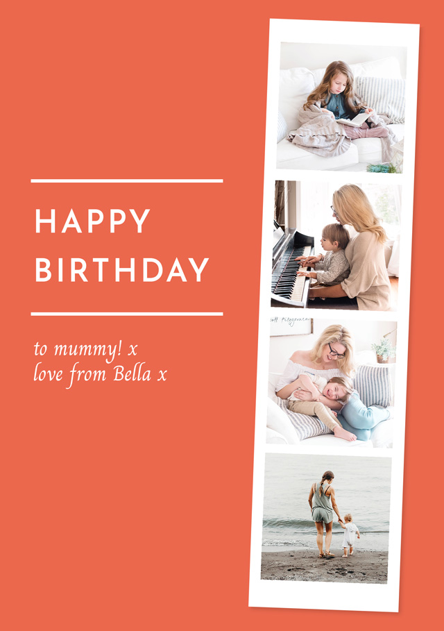 Create a Real Photo Photo Birthday Card Collage Photo Strip Card