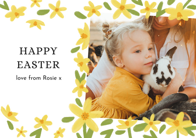 Create a Real Photo Photo Easter Card Spring Flowers Card