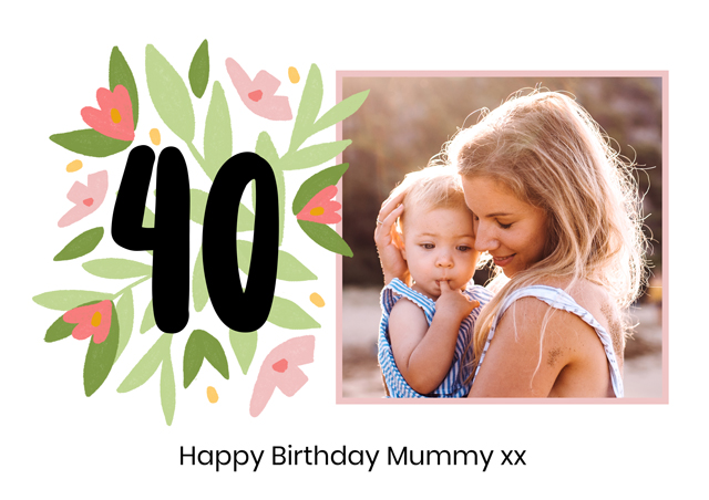 Create a Real Photo Photo Card Milestone Birthday Floral 40 Card