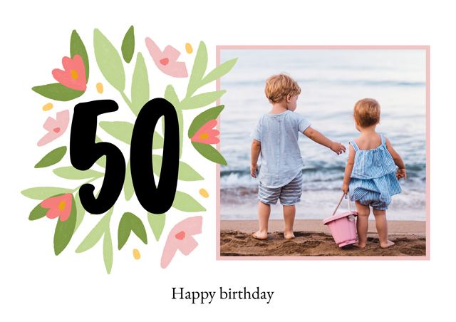 Create a Real Photo Photo Card Milestone Birthday Floral 50 Card