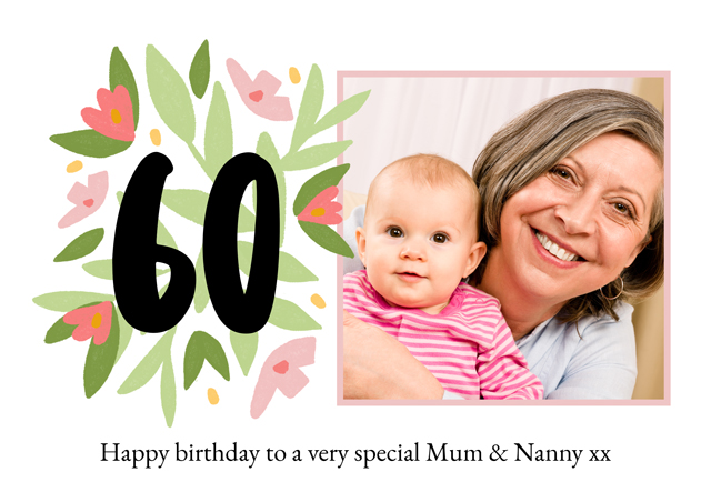 Create a Real Photo Photo Card Milestone Birthday Floral 60 Card