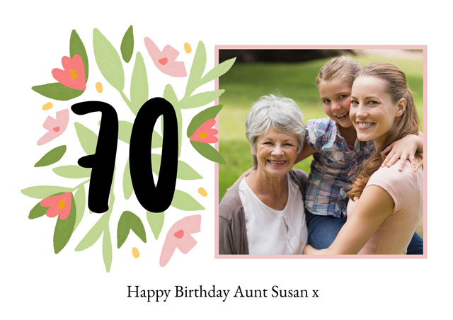 Create a Real Photo Photo Card Milestone Birthday Floral 70 Card