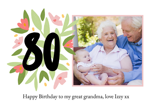 Create a Real Photo Photo Card Milestone Birthday Floral 80 Card