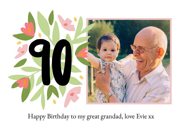 Create a Real Photo Photo Card Milestone Birthday Floral 90 Card