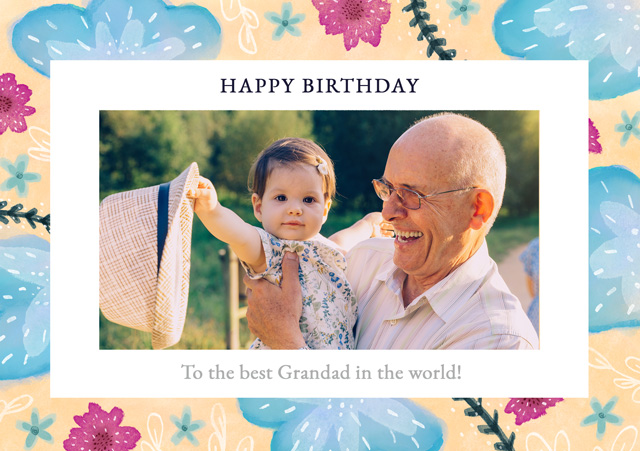 Create a Real Photo Photo Birthday Card Blue Flowers Landscape Card