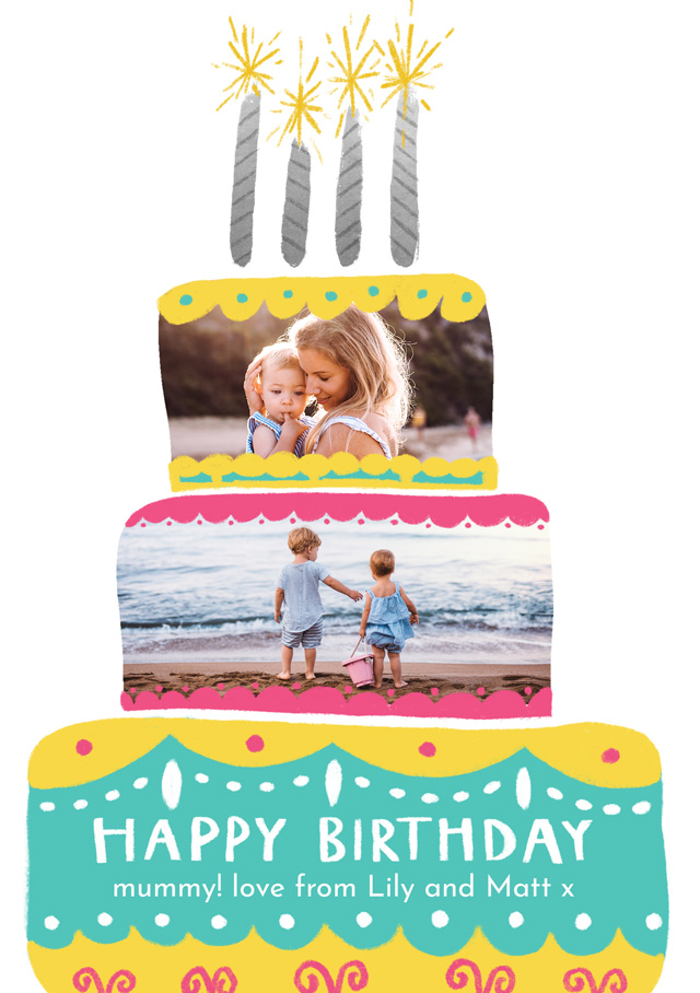 Create a Real Photo Photo Card Birthday Cake Two Photos Card