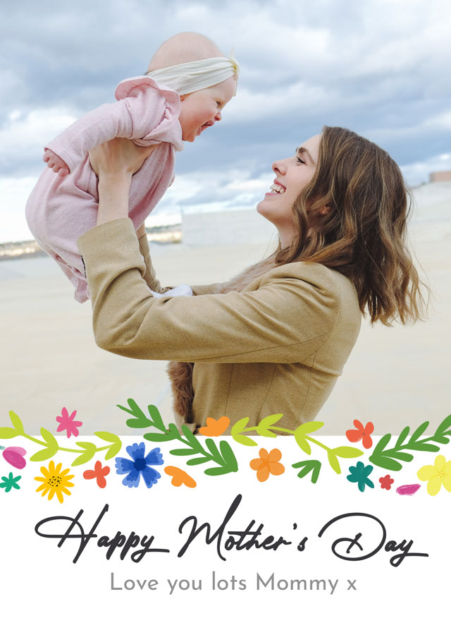 Create a Real Photo Photo Mother's Day Card Modern Flower Pattern Card