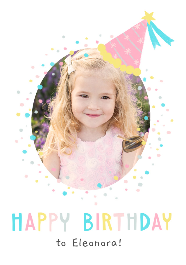 Create a Real Photo Photo Birthday Card Party Hat Card