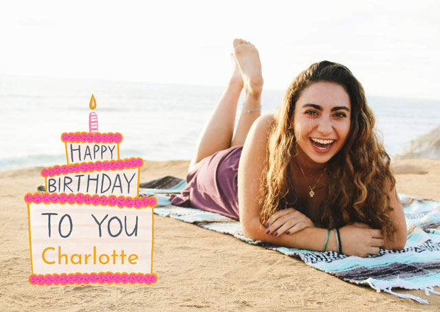 Create a personalised photo card Photo Birthday Card Cake Overlay