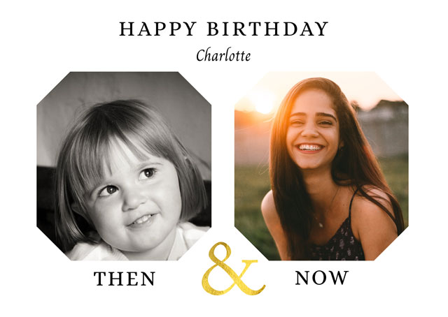 Create a Real Photo Photo Birthday Card Then & Now Card
