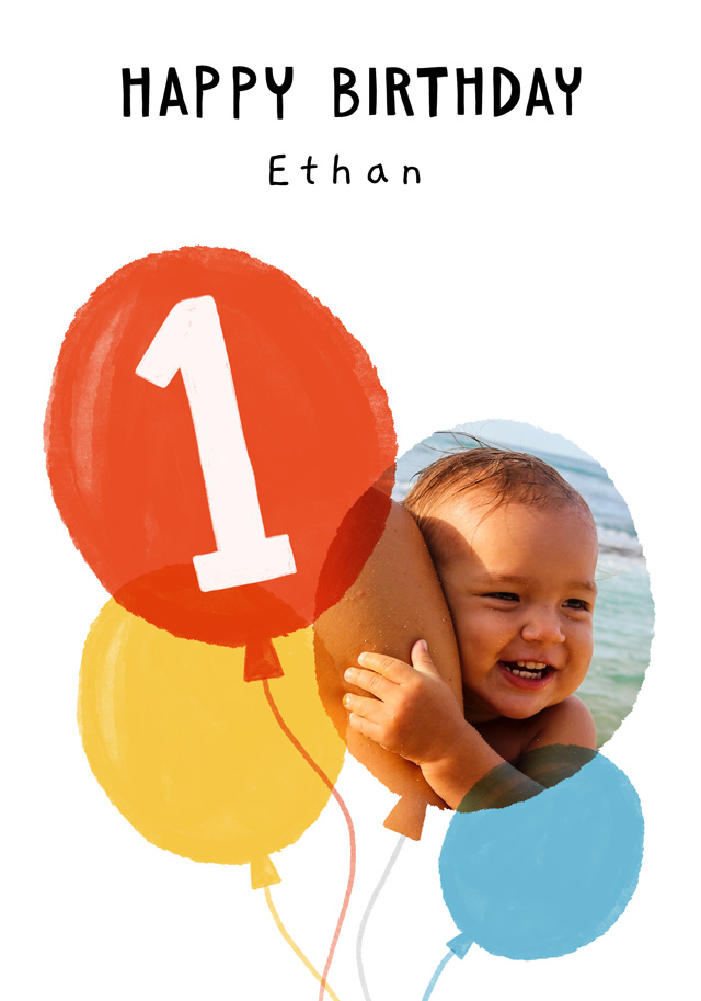Create a Real Photo Photo Birthday Card Balloon Milestone 1 Card