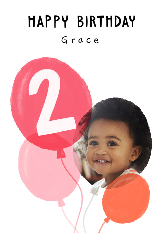 Create a Real Photo Photo Birthday Card Balloon Milestone 2 Card
