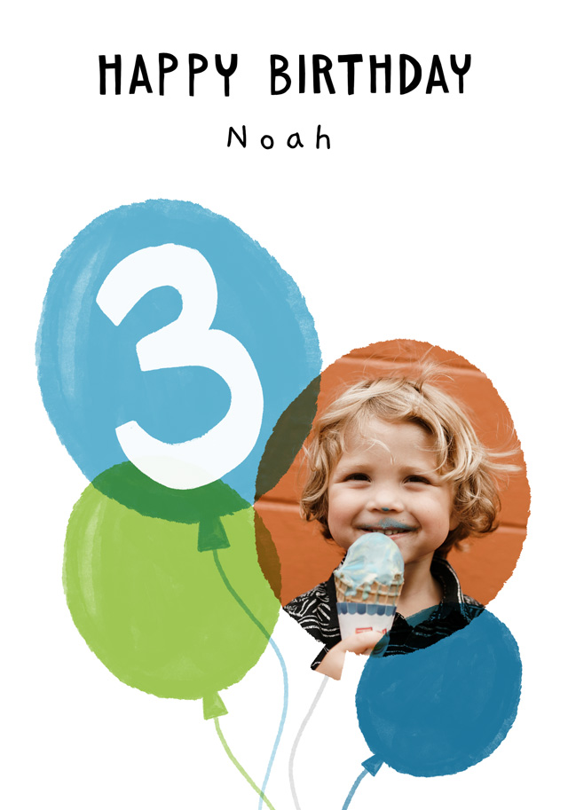 Create a Real Photo Photo Birthday Card Balloon Milestone 3 Card