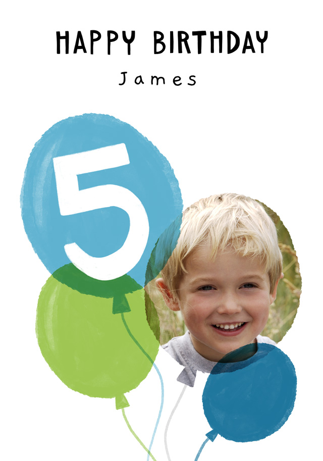 Create a Real Photo Photo Birthday Card Balloon Milestone 5 Card