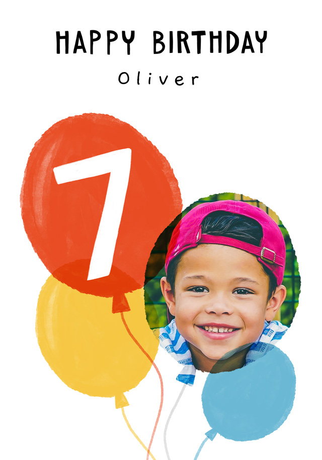 Create a Real Photo Photo Birthday Card Balloon Milestone 7 Card