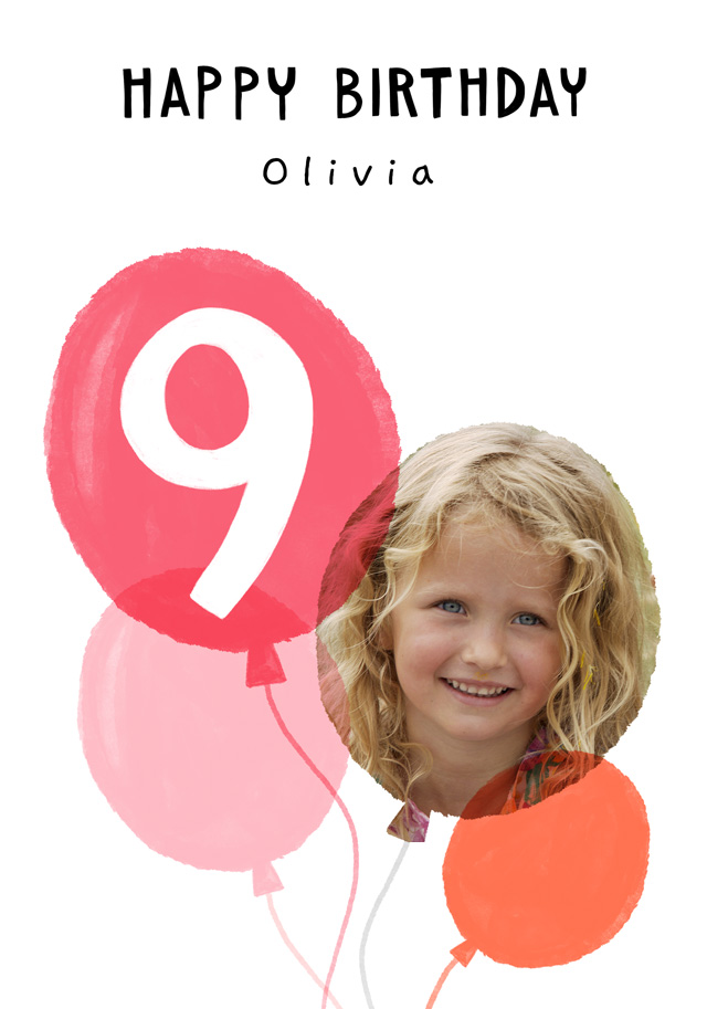 Create a Real Photo Photo Birthday Card Balloon Milestone 9 Card