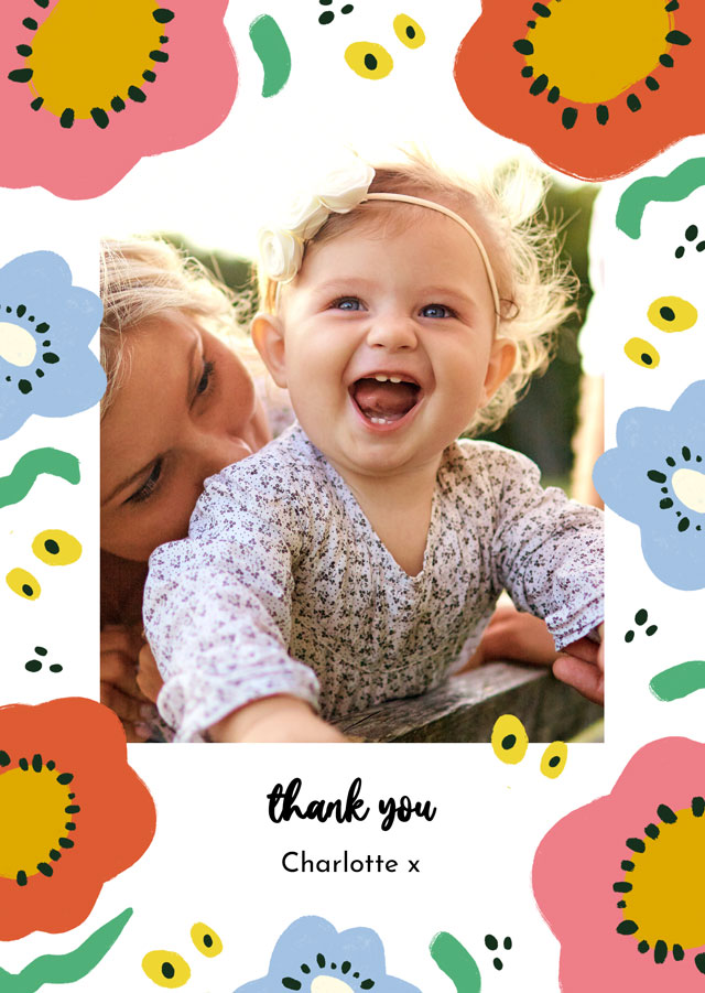 Create a personalised photo card Photo Thank You Card Abstract Flowers